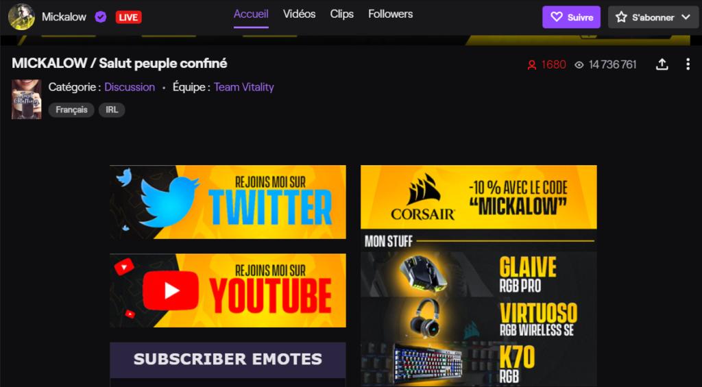 Exemple d'affiliation sur Twitch.