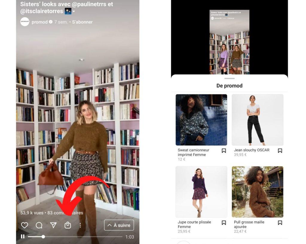 Exemple de stratégie Instagram Shopping chez Promod.