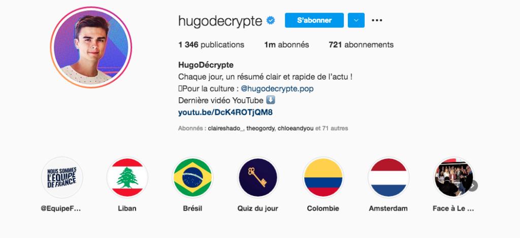 hugo décrypte instagram